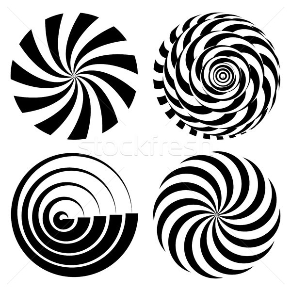 Radial Spiral Rays Set. Vector Psychedelic Illustration. Twisted Rotation Effect. Swirling Monochrom Stock photo © pikepicture