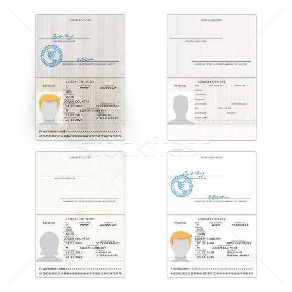 Uluslararası pasaport ayarlamak vektör örnek kişisel Stok fotoğraf © pikepicture