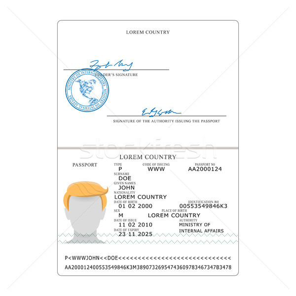 International Passport Vector. Opened Passport Page Blank Template. Identification Document. Stock photo © pikepicture