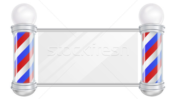 Barber Shop Pole Vector. Space For Your Advertising. Old Fashioned Vintage Silver And Glass Barber S Stock photo © pikepicture