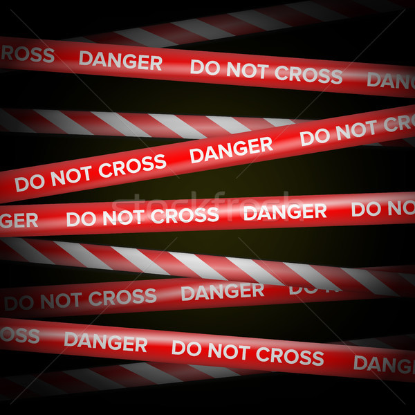 Danger Tape Vector. Red And White Lines. Do Not Cross, Danger, Do Not Enter, Caution. Dark Backgroun Stock photo © pikepicture
