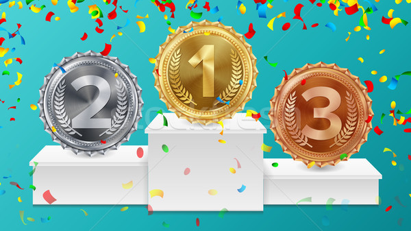 Winner Pedestal With Gold, Silver, Bronze Medals Vector. White Winners Podium. Number One. Red Ribbo Stock photo © pikepicture