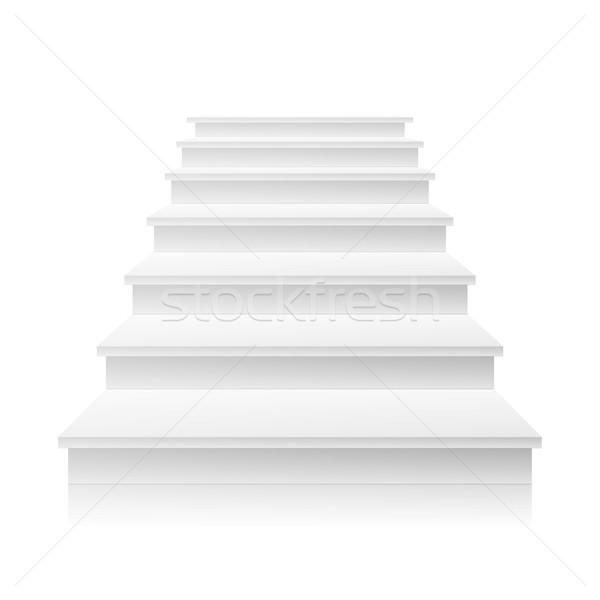 Fehér lépcsőház vektor 3D valósághű illusztráció Stock fotó © pikepicture