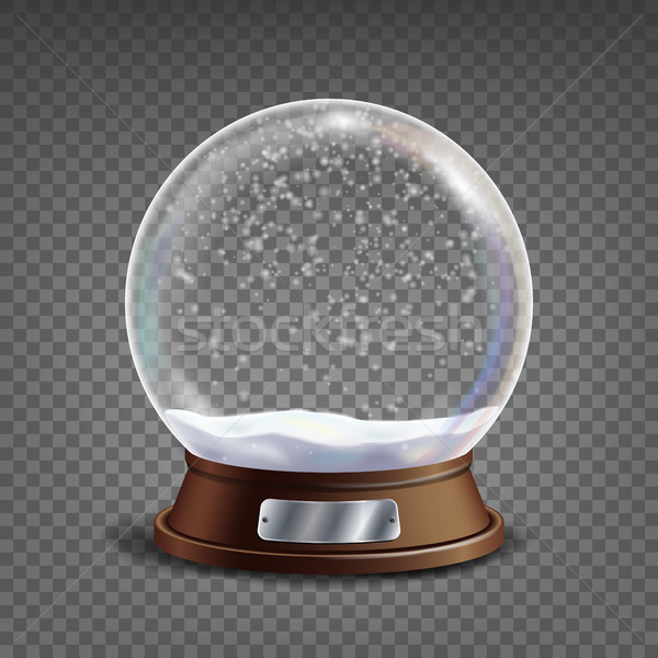 3d Classic Snow Globe Vector.Glass Sphere With Glares And Gighlights. Isolated On Transparent Backgr Stock photo © pikepicture