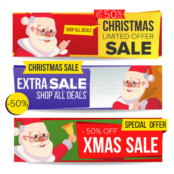 Christmas Sale Banner Vector. Merry Christmas Santa Claus. Discount Tag, Special Xmas Offer Horizont Stock photo © pikepicture