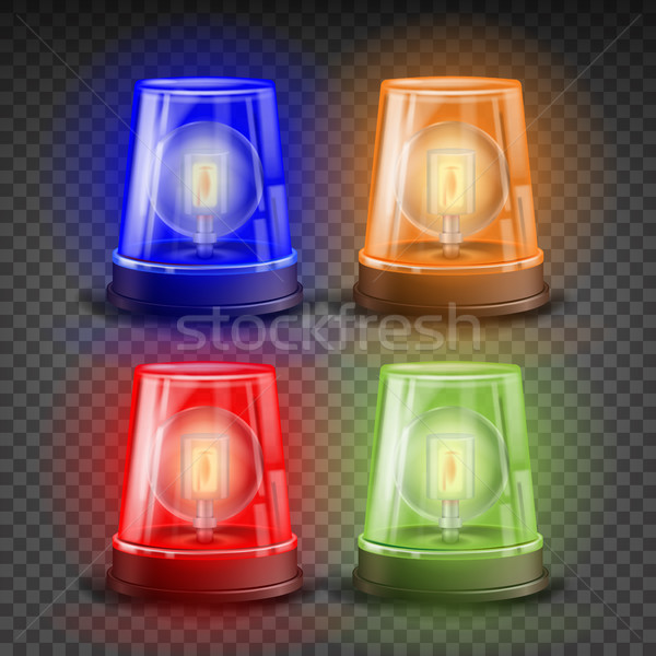 Realistic Flasher Siren Set Vector. Red, Orange, Green, Blue. 3D Realistic Object. Light Effect. Rot Stock photo © pikepicture