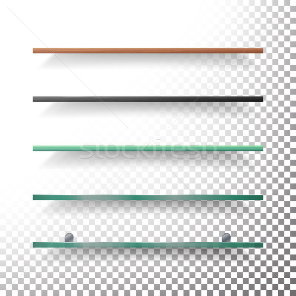 Empty Glass And Wood Shelves Template Vector Stock photo © pikepicture