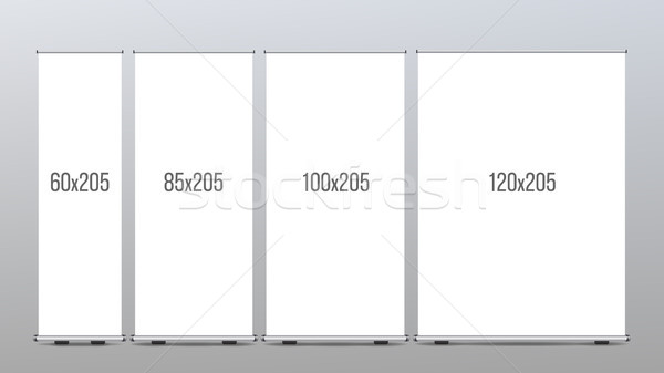 Roll Up Banner Stand Vector. Presentation Concept. Vertical Display. Poster For Shop. Empty Blank. R Stock photo © pikepicture