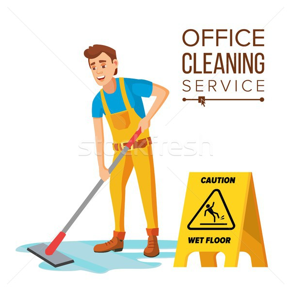 Professional Office Cleaner Vector. Janitor With Cleaning Equipment. Flat Cartoon Illustration Stock photo © pikepicture