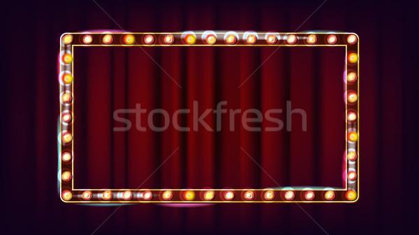 Retro cartel vector brillante luz signo Foto stock © pikepicture