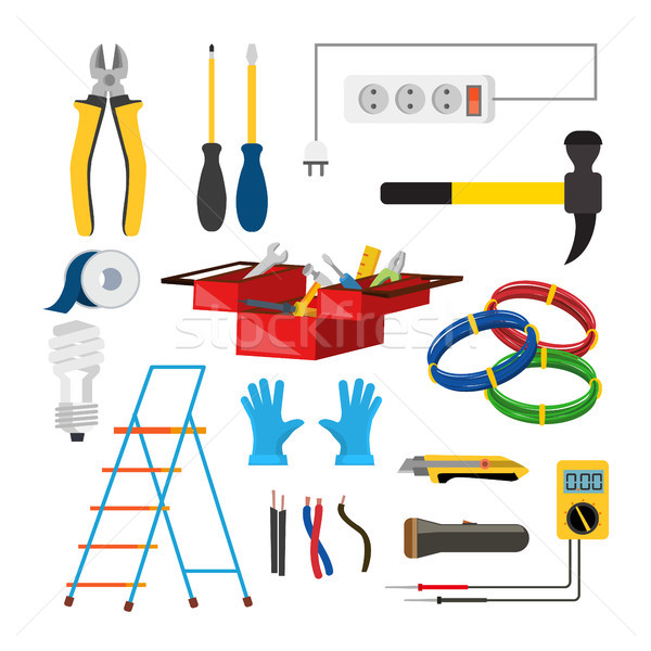 Stock photo: Electrician Icons Set Vector. Electrician Accessories. Stepladder, Gloves, Light Bulb, Wire, Screwdr