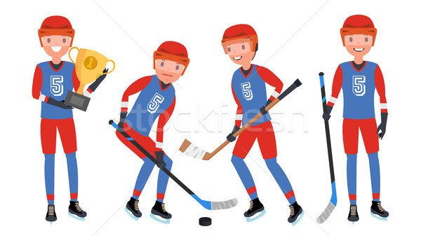 Classic Ice Hockey Player Vector. Set Player In Action. Winter Sport. Isolated On White Cartoon Char Stock photo © pikepicture