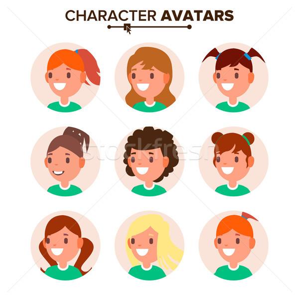 Meisje karakter avatar ingesteld vector vrouw gezicht Stockfoto © pikepicture