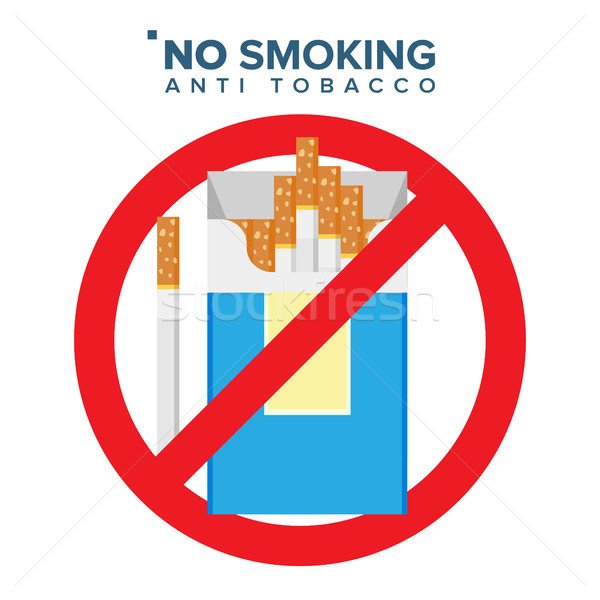 No Smoking Sign Vector. Prohibition Icon. Anti Offering And Bad Habit. Isolated Flat Cartoon Illustr Stock photo © pikepicture