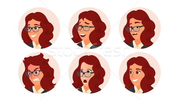 деловой женщины Аватара вектора женщину лицом набор Сток-фото © pikepicture