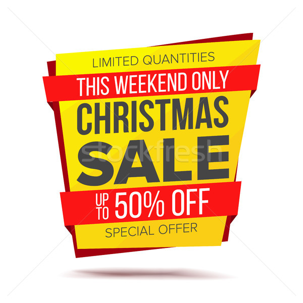 Christmas Sale Banner Vector. Discount Up To 50 Off. Isolated On White Illustration Stock photo © pikepicture