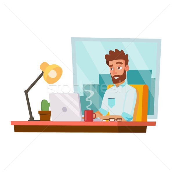 Programmer Man Vector. Development Working. Man Freelance Job Concept. Isolated On White Cartoon Cha Stock photo © pikepicture