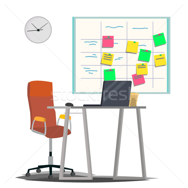 Scrum Board Vector. Board With Post It Notes. For Software Development. Hanging On Office Wall. Mode Stock photo © pikepicture