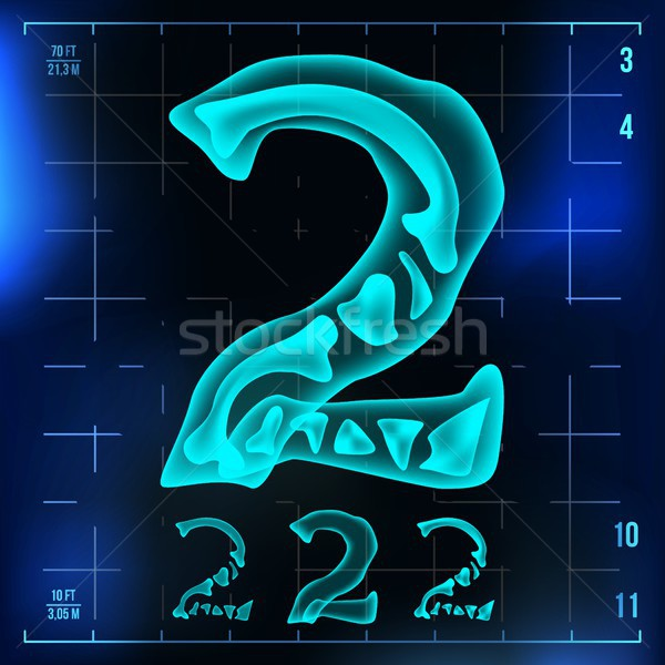 2 Number Vector. Two Roentgen X-ray Font Light Sign. Medical Radiology Neon Scan Effect. Alphabet. 3 Stock photo © pikepicture