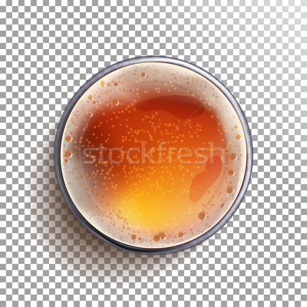 Beer Glass Top View Vector. View From Above. Beer Ads. Brewery Banner Design. Realistic Isolated Ill Stock photo © pikepicture