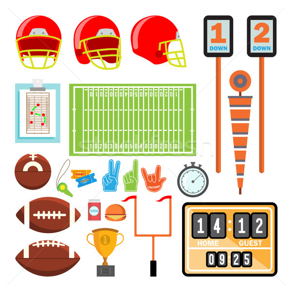 American Football Icons Set Vector. American Football Accessories. Helmet, Ball, Cup, Field. Isolate Stock photo © pikepicture