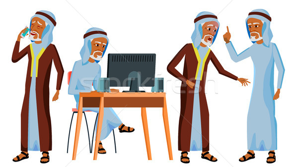Arab Man Office Worker Vector. Islamic. Traditional Clothes. Old. Business Set. Face Emotions, Gestu Stock photo © pikepicture