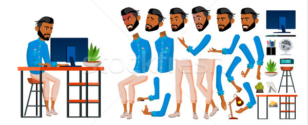Arab Man Office Worker Vector. Business Animation Creation Set. Face Emotions, Gestures. Adult Entre Stock photo © pikepicture