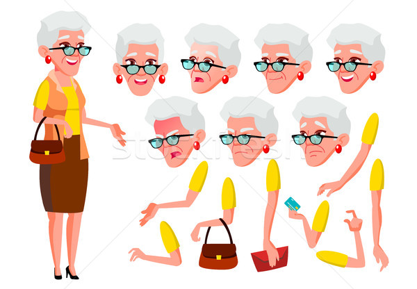 Oude vrouw vector senior persoon ouderen Stockfoto © pikepicture