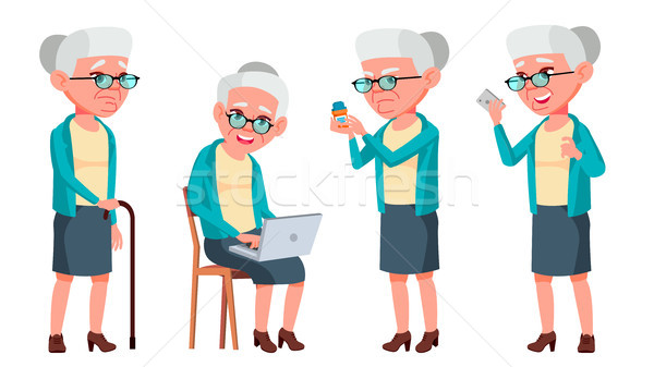 Old Woman Poses Set Vector. Elderly People. Senior Person. Aged. Caucasian Retiree. Smile. Web, Post Stock photo © pikepicture
