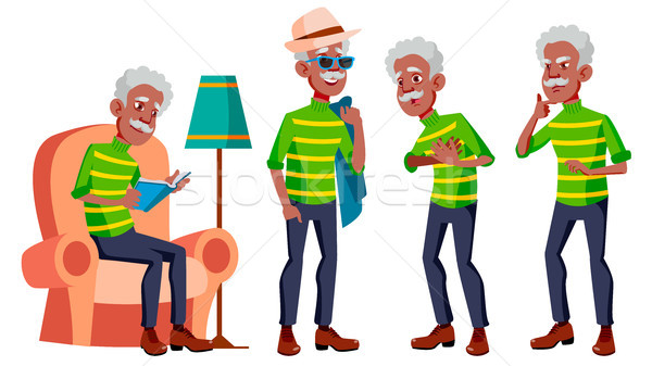 Old Man Poses Set Vector. Black. Afro American. Elderly People. Senior Person. Aged. Caucasian Retir Stock photo © pikepicture