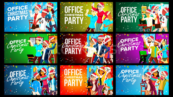 Office Christmas Party Banner Set Vector. Celebrating. Merry Christmas And Happy New Year. Having Fu Stock photo © pikepicture