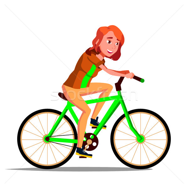 Teen Girl Riding On Bicycle Vector. Healthy Lifestyle. Bikes. Outdoor Sport Activity. Isolated Illus Stock photo © pikepicture