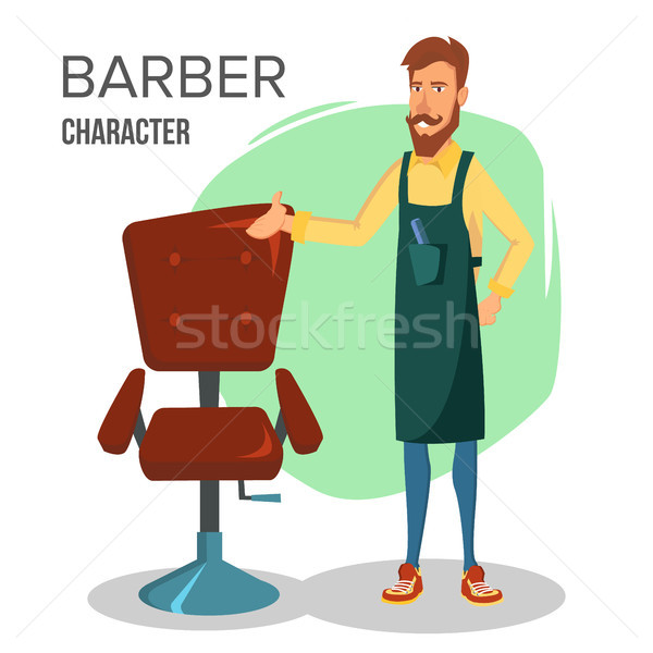 Cartoon Barber Character Vector. Classic Lounge Chair. Happy Professional Barber Standing At Workpla Stock photo © pikepicture