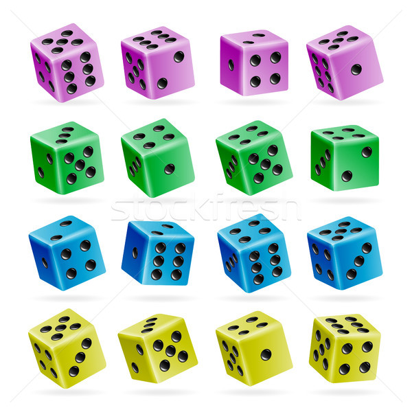 Playing Dice Vector Set. 3d Realistic Cubes With Dot Numbers. Good For Playing Board Casino Game. Is Stock photo © pikepicture