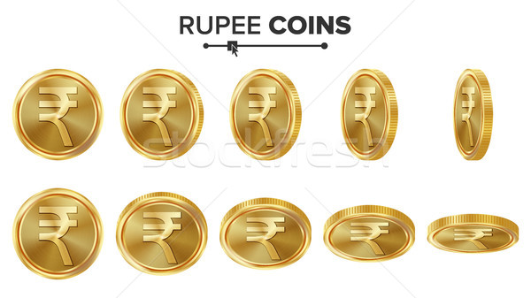 Rupee 3D Gold Coins Vector Set. Realistic Illustration. Flip Different Angles. Money Front Side. Inv Stock photo © pikepicture