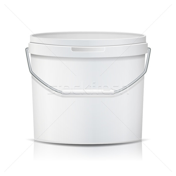 White Bucket Vector. Blank Plastic Tub Bucket. Container For Ice Cream Or Dessert. Isolated Illustra Stock photo © pikepicture