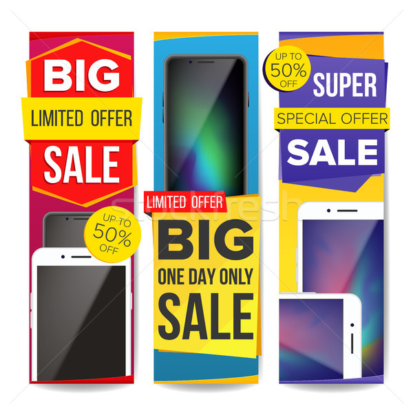 Sale Banner Set Vector. Discount Special Offer Banners Templates. Modern Smart Phones. Best Offer Ad Stock photo © pikepicture