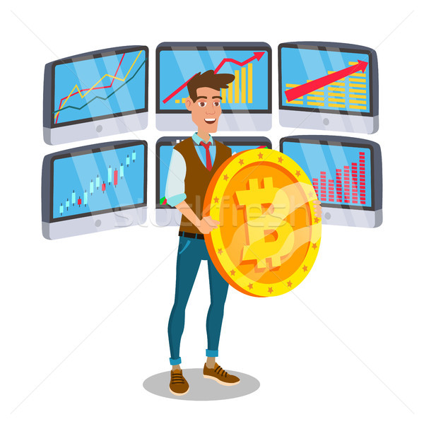 Businessman Standing With Big Bitcoin Sign Vector. Trading Monitors And Trend. Digital Money. Crypto Stock photo © pikepicture