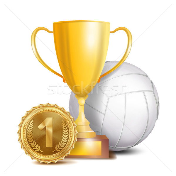 Volleyball Award Vector. Sport Banner Background. White Ball, Gold Winner Trophy Cup, Golden 1st Pla Stock photo © pikepicture