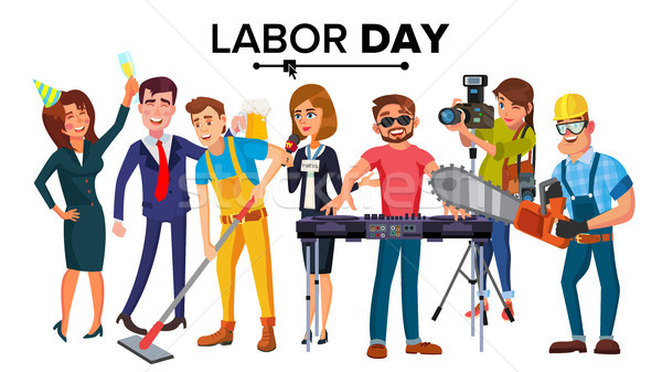 Labor Day Vector. Group Of People. Modern Jobs. Different Professions. Flat Isolated Cartoon Charact Stock photo © pikepicture