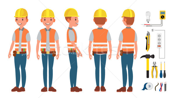 Stock photo: Electrician Worker Male Vector. Makes Electrical Equipment. Different Poses. Cartoon Character Illus