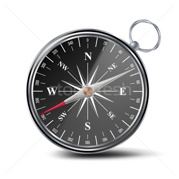 Antique Compass Vector. Metal Compass 3d Object. Isolated Illustration Stock photo © pikepicture