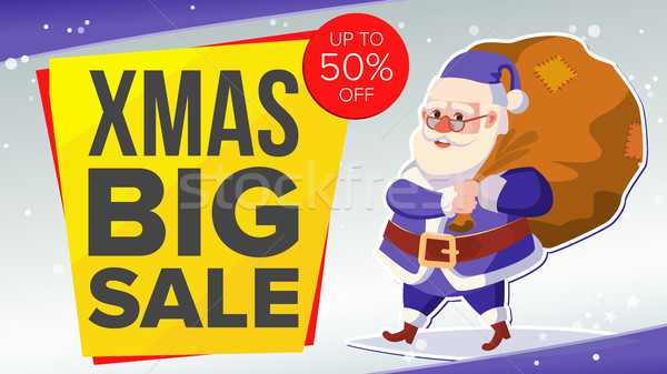 Big Christmas Sale Banner With Happy Santa Claus. Vector. Business Advertising Illustration. Design  Stock photo © pikepicture