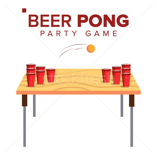 Beer Pong Game Vector. Alcohol Party Game. Red Cups On Table And Ball. Isolated Flat Illustration Stock photo © pikepicture