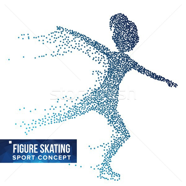 Figure Skating Player Silhouette Vector. Halftone Dots. Dynamic Ice Skating Athlete In Action. Flyin Stock photo © pikepicture