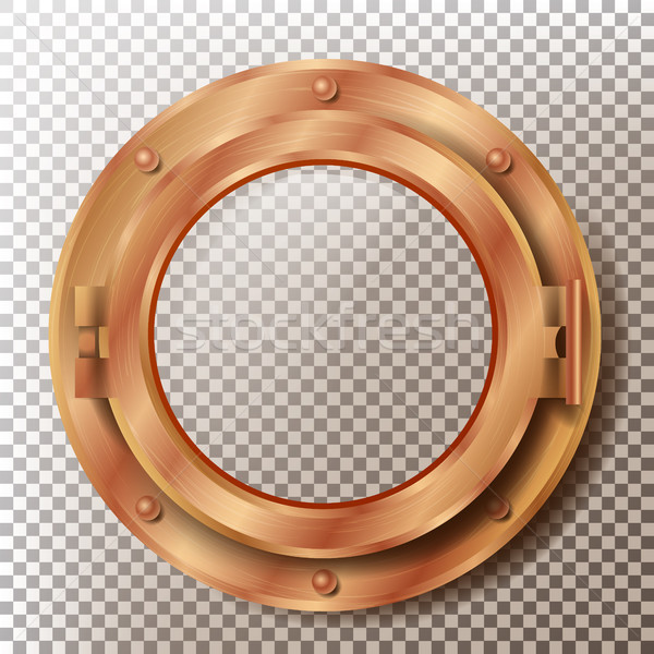 Porthole Vector. Round Brass, Bronze, Copper Window With Rivets. Bathyscaphe Ship Metal Frame Design Stock photo © pikepicture