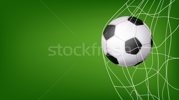Soccer Ball In Net Vector. Hitting Goal. Invitation Sport Poster, Banner, Brochure Design. Isolated  Stock photo © pikepicture