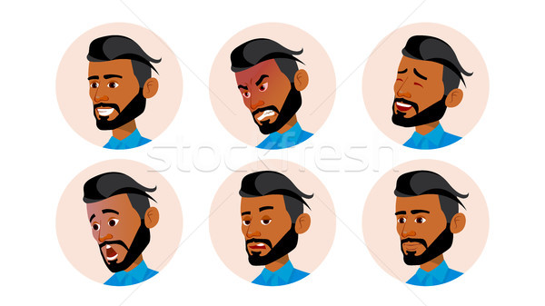 Arab Man Avatar People Vector. Arab, Muslim. Comic Emotions. Flat Handsome Manager. Happy, Unhappy.  Stock photo © pikepicture