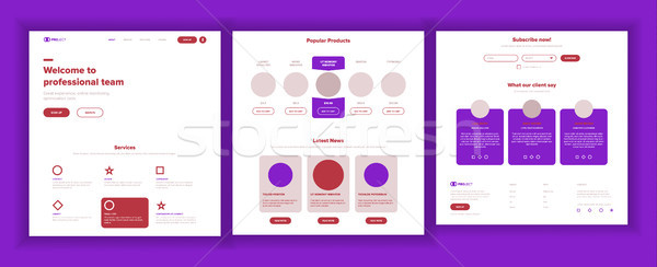 Main Web Page Design Vector. Website Business Reality. Landing Template. Creative Project. Informati Stock photo © pikepicture