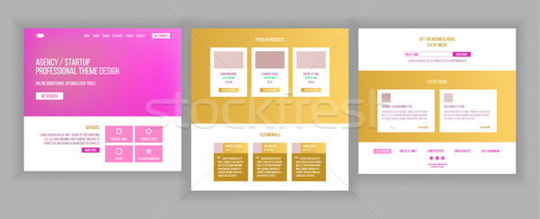 Main Web Page Design Vector. Website Business Concept. Landing Template. Working Team. Cloud Room. A Stock photo © pikepicture